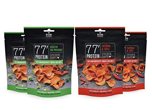 Grillido Protein Chips 4er Mixpack | 78% Eiweiß Nur 9% Fett | Eiweißreiche Paleo Snack Alternative zu Proteinriegel