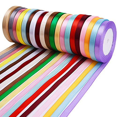 Livder 20 Colors 500 Yard Fabric Ribbon Silk Satin Roll Ribbons for Bows Crafts Gifts Wrapping Party Wedding, 2/5 Inch Width, 20 Rolls