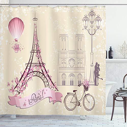 ABAKUHAUS Kuss Duschvorhang, Florales Paris-Symbol Eiffel, Klare Farben aus Stoff inkl.12 Haken Farbfest Schimmel & Wasser Resistent, 175 x 180 cm, Elfenbein Rosa