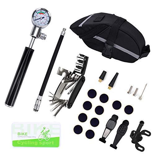 OKVGO Fahrradreifen Reparaturset mit Hochdruckprüfer 210 PSI Mini-Pumpe und 16-in-1 Fahrrad-Wartungswerkzeug, Metallraspel, vorgeklebte Flicken für Reifenpannenprobleme