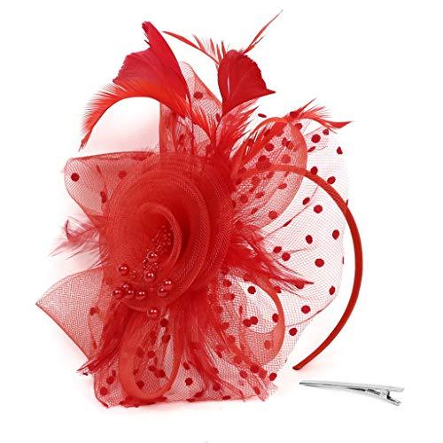 TUDUZ Fascinator Blume Mesh Bänder Federn Hochzeit Party Kopfbedeckung Hut für Mädchen und Frauen Kostüm Karneval Fasching (T-Rot)