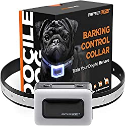 BRISON Dog Bark Collar - 4 Modes LED Flashlight Beep Vibration Static Shock - Rechargeable Waterproof Anti Bark Collar for Small Medium and Large Dogs with Led Flashing Decoration Cover