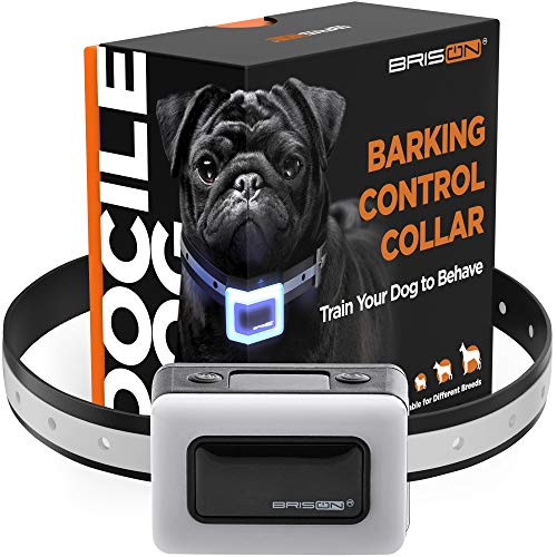 BRISON Dog Bark Collar - 3 Modes Beep Vibration No Shock - Rechargeable Waterproof Anti Bark Collar for Small Medium and Large Dogs