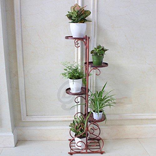 Étagères d'angle Étagère simple de fleur de fer forgé de quatre étages, plancher de balcon de style européen de style Succulents Flower Rack ( Couleur : Bronze )
