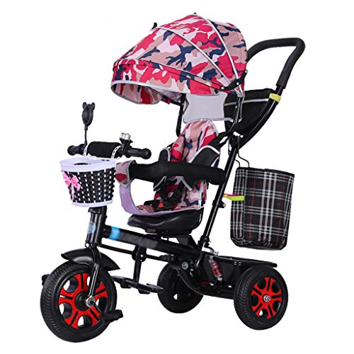 Great Deal! Parent Push Tricycle for Kids Children's Stroller Trike with 360° Rotating Seat and Saf...
