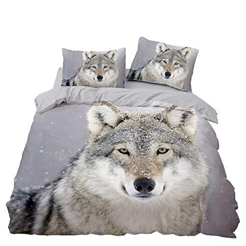 Set copripiumino con stampa a forma di lupo di animali in 3D, set di biancheria da letto con federa, multicolore di lusso, morbido copripiumino per ragazzi e ragazze (L,135 x 200)