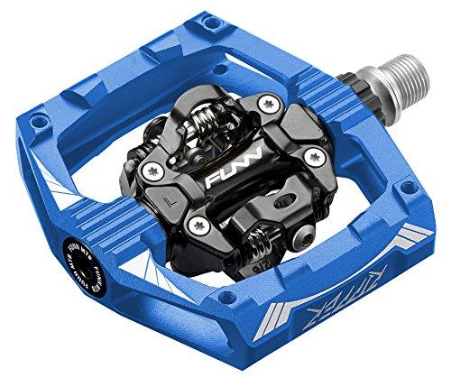 Funn Ripper Mountain Bike Clipless Pedal Set, Rocker Clip Mechanism, SPD Compatible, 9/16-inch CrMo Axle (Blue)