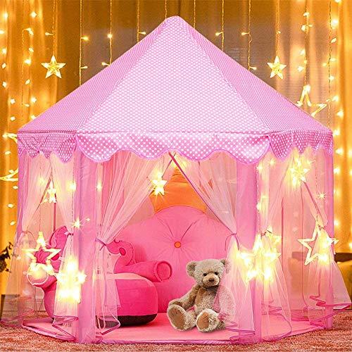 ZZAZXB Tienda de Princesa, Tienda Campaña da Juegos para Niños, Interior Tiendas Castillo Princesas Portable Gran Rosa Playhouse con Pequeñas Luces de Estrellas, 53 '' x 55 ''