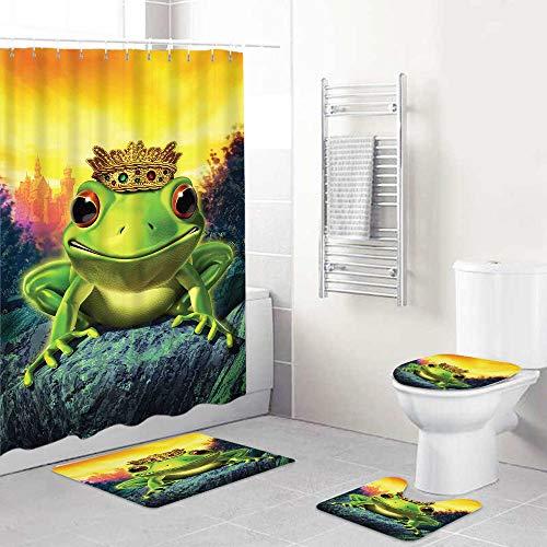 LONSANT Duschvorhang Set,Tierfroschprinz mit Goldener gelber Krone auf Felsen Märchen-Seelenverwandte Illustration Grüngelb,Teppichen Toilettendeckel & Badematte Duschvorhang für mit 12 Haken