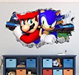 """Sonic and Mario Bros Wall Decal Art Decor 3D The Hedgehog Smashed Sticker Kids Mural Poster Gift Custom HA24 (42"""" W x 24"""" H)"""