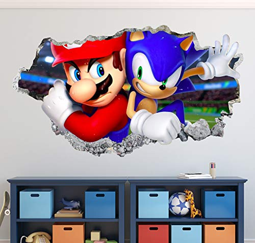 Sonic and Mario Bros Wall Decal Art Decor 3D The Hedgehog Smashed Sticker Kids Mural Poster Gift Custom HA24 (42' W x 24' H)