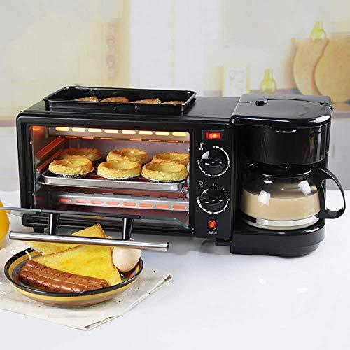 Frühstück-Sets 3 in 1 Backofen,9L Familienfrühstück MachineElektro-Ofen, 600 ML Kaffee-Pot für Toast Omelette, Backöfen Temperaturregelung 100-230°C,Umluft,30 min Timer