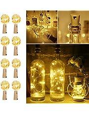 LE LED Lichtslang voor Flessen, 8 stuks 2m Lichtketting Lichtsnoer, 20 LED's, warmwit, LED Koperdraad Flessenlicht Met kurk, op batterijen, Lichtdecoratie voor Buiten, Feest, Kerstmis, Bruiloft