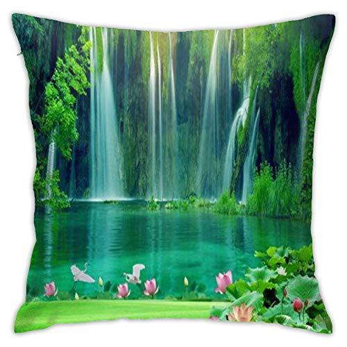 Cascada Lago y Loto, funda de almohada retro decorativa para el hogar para hombres/mujeres, sala de estar, dormitorio, silla, funda de almohada de 45 x 45 cm