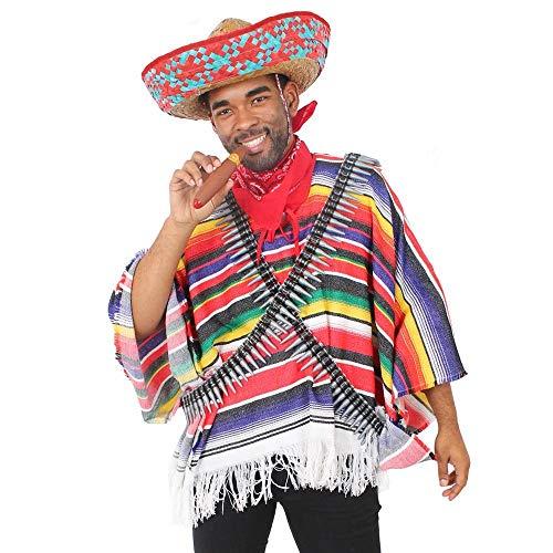 ILOVEFANCYDRESS Disfraz DE Bandido Mexicano para Adultos con Sombrero Rojo, Poncho, Cinturon DE Balas, Bigote Y CIGARRO