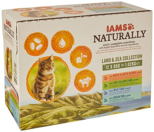 Iams Naturally Complete Land & Sea Collection Adult Cat Food Pouches,...