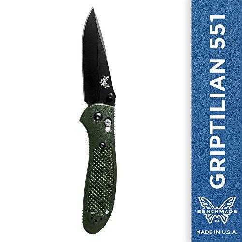 Benchmade - Griptilian 551 Knife, Plain Drop-Point, Coated Finish, Olive Handle