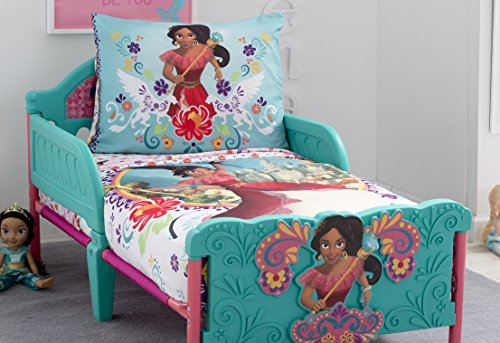 Disney Elena of Avalor Bold and Brave 4 Piece Toddler Bedding Set, Pink/Red/Turquoise/White