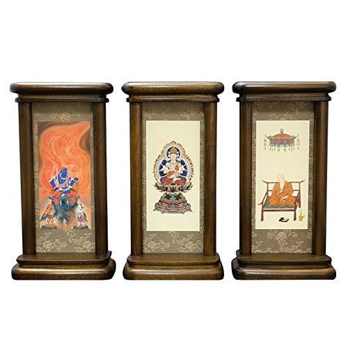 京仏壇はやし 掛軸 仏壇用 モダン掛軸 真言宗 小 (三幅対) オーク色 ◆高さ20cm 幅10.5cm 奥行5cm 【 掛け軸 】