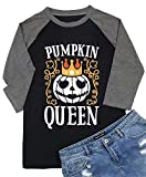Happy Halloween Pumpkin T Shirt Women Cute Ghost Tee Shirt Raglan 3/4 Sleeve Blouse Top (XXL, Grey-1)