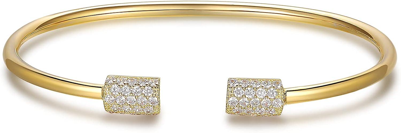 Gold Bracelets for Women, Girls, Bangle Bracelets,18K Gold Plated Cuff Bracelets with 1.5mm Cubic Zirconia
