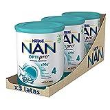 NAN - Optipro 4 Leche De Crecimiento En Polvo, 3 latas x 800 g