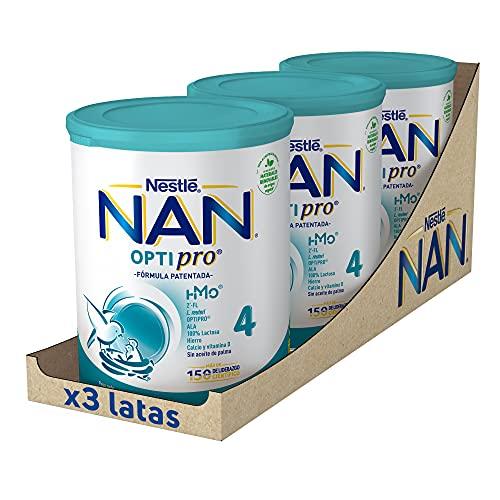 NAN - Optipro 4 Leche De Crecimiento En Polvo, 3 latas x 800...