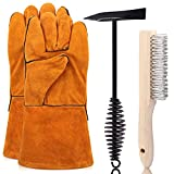 Rustark 3 Pack Scratch Wire Brush Slag Removal Tool Kit With Welding Leather Gloves, 10 Inch Welding Chipping Hammer and Wirebrush, Welding Slag Removal Tool for Cleaning Removing Slag