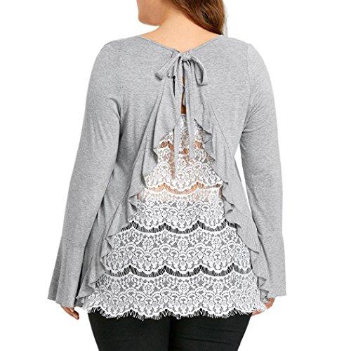 ESAILQ Große Größen Damen Rücken Spitze Hemd Lange Hülsen Beiläufige Hemd Oberseiten Bluse