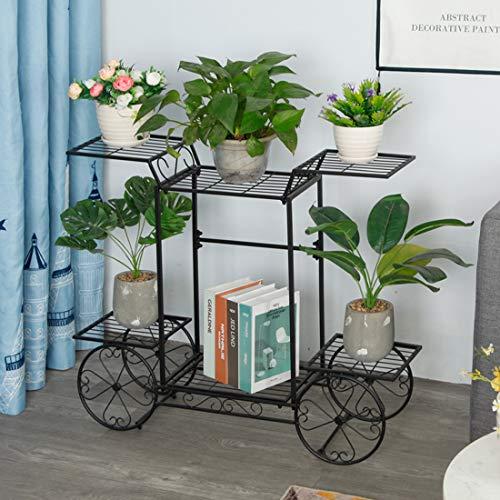 Dittzz Soporte para Plantas, Escalera para Flores de Metal Estantería para Macetas Decorativa para...