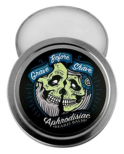 GRAVE BEFORE SHAVE Leather/Cedar wood scent Beard Balm (2 oz. Tin) (Health and Beauty)