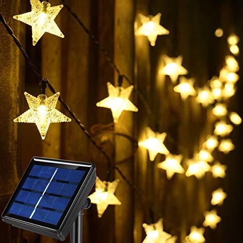 Abkshine 50ft 120 LED Solar Star Fairy Lights, Outdoor Decorative Solar String Lights, Waterproof Ambiance Lighting for Patio Deck,Camper,Gazebo,Girls Themed Room,Garden,Porch,Bush Decor,Warm White
