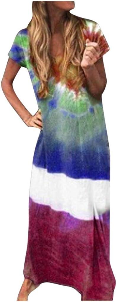 Jaqqra Summer Dress for Women Beach V Neck Tie Dye Printed Casual Long Maxi Dress Short Sleeve Cover Up Boho Sundress
