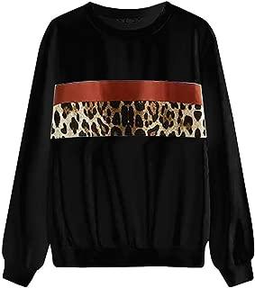 Kulywon Fashion Women Casual Loose Long Sleeve Leopard Print Sweatshirt Tops
