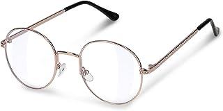 d2143b8868 Navaris gafas retro redondas - Gafas unisex sin graduar con montura de metal  y lentes transparentes