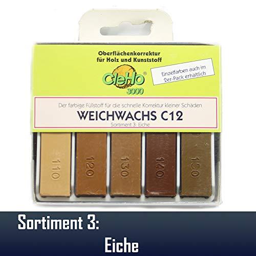 CleHo Weichwachs C12-5er Pack | Reparatur | Wachs | Holz | Möbel | Sortiment 3 | Eiche