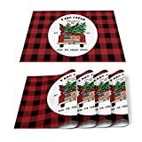 Christmas Placemat For Dinning,Red Black Buffalo Plaid Check Table Placemat Set Of 4-Cotton Linen Waterproof Cloth Table Mat-Truck Xmas Tree Place Mat,Washable Easy Clean Fabric,Holiday Dinner Decor