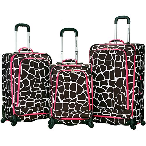 Rockland Fusion Softside Spinner Wheel Luggage, Pink Giraffe, 3-Piece Set (20/24/28)