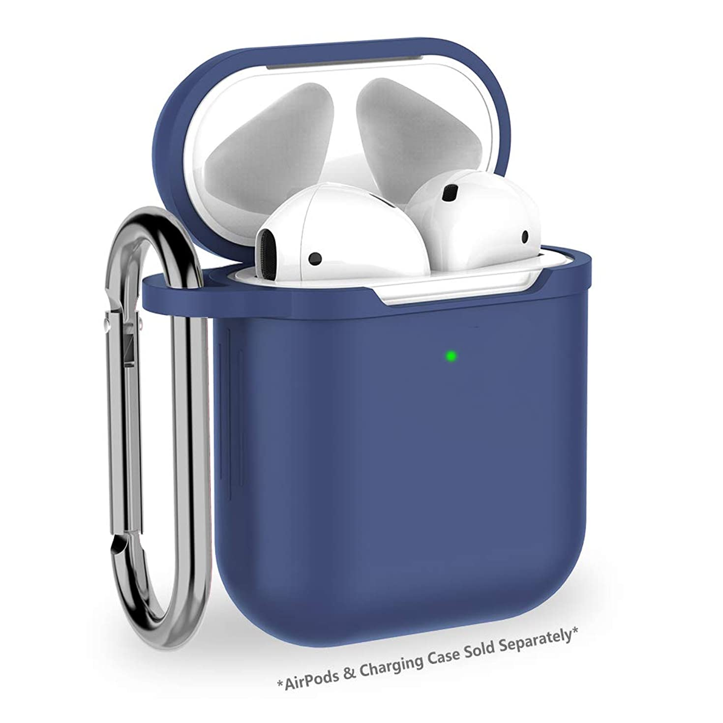 LKDEPO AirPods Case Accessories Set Compatible with Apple AirPods 2 & 1 [Front LED Visible] [Wireless Rechargeable] [Add Keychain] - Shockproof Protective Premium Silicone Case Cover AirPods Hang Case