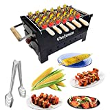 Chefman Portable Picnic Charcoal Barbeque Grill with 6 Skewers, 1Grill, 1 Glove