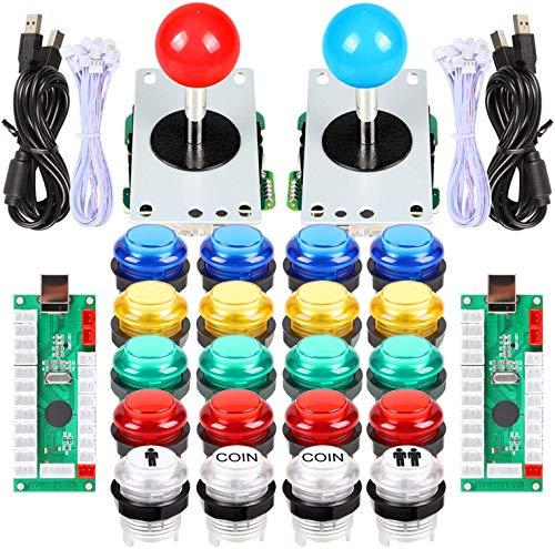 EG STARTS Arcade Classic DIY Kit Part 2x USB LED Encoder para PC Juegos Consols + 2x 4/8 Ways Joystick + 20x 5V Botones iluminados para Mame Jamma Raspberry pi (botones rojo / azul Stick + MIX Color)