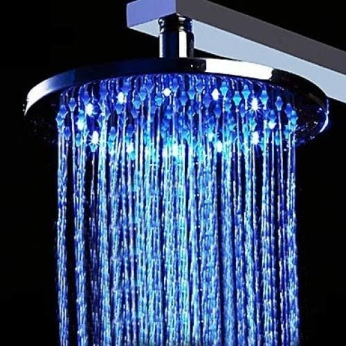 12 inch Brass Shower Head with Changing Light 4 years warranty Boston Mall Color LED Round