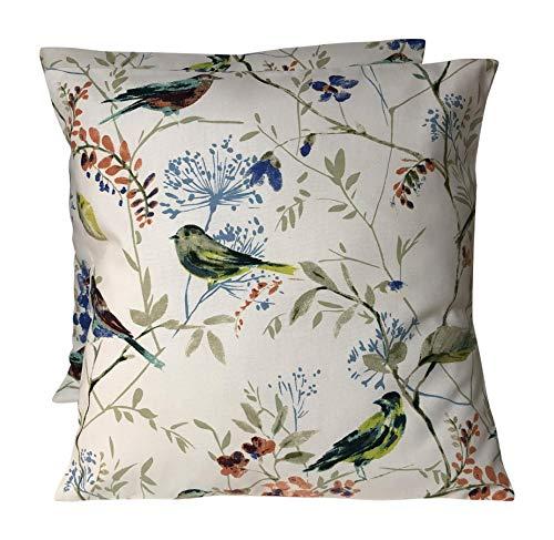 CUSHIONS2U Prestigious Textiles - Fundas de cojín para pájaros (2 unidades, 16 unidades), color azul y naranja