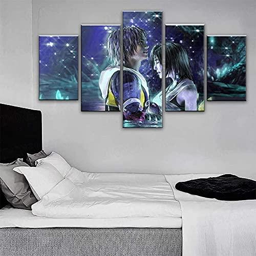 MSKJFD Kiss Macalania Yuna Ffx Tidus Final Lake Fantasy Art Lienzo Pinturas para Sala de Estar Impresiones Carteles Arte de Pared decoración del hogar Marco