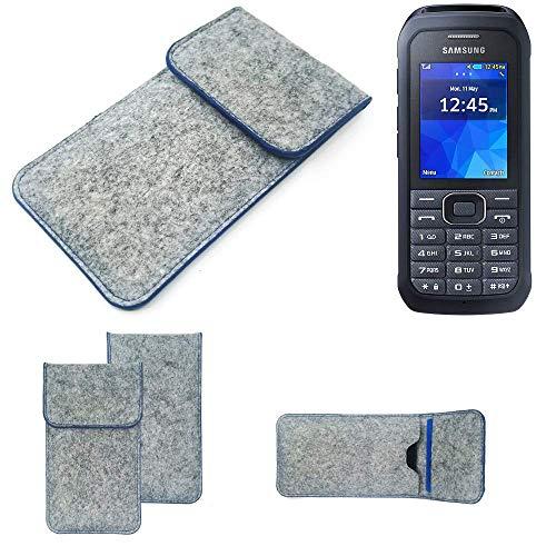 K-S-Trade Handy Schutz Hülle Für Samsung Xcover 550 Schutzhülle Handyhülle Filztasche Pouch Tasche Hülle Sleeve Filzhülle Hellgrau, Blauer Rand