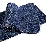 VANZAVANZU Alfombra de Baño 2 Piezas Antideslizante Alfombrilla de Baño Espesa Absorbente Alfombra de Ducha Ultra Suave Alfombrillas para Baño Mullido Microfibra - 40 x 60cm (Azul Marino)