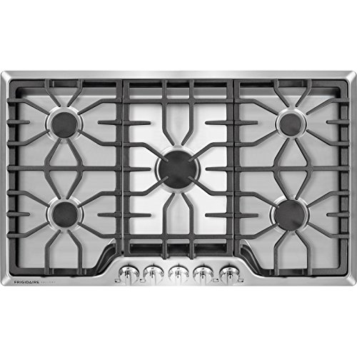 Frigidaire Gallery 36 Inch Stainless Steel Gas Cooktop, 5-Burner Range with Liquid Propane Cooktop Conversion Kit, FGGC3645QS