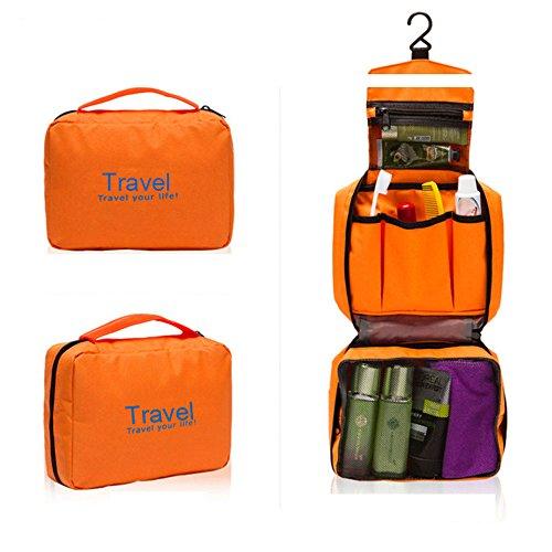 HSQUARE トラベル ポーチ 吊り下げ 旅行 バッグ 洗面用具 フック付き (オレンジ)