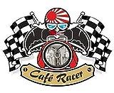 Vintage Cafe Racer Ton Biker UP, motivo: bandiera del Giappone giapponese in vinile per per casco bici auto adesivo 90 x 65 mm