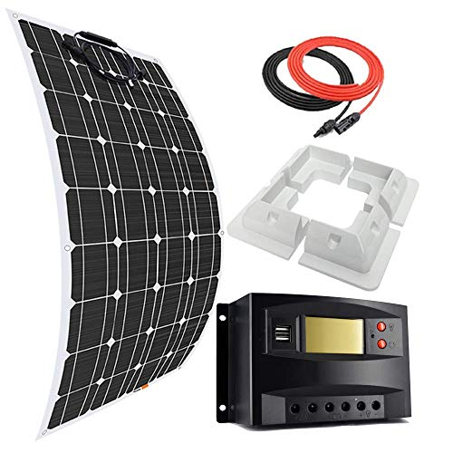 DSHUJC 100 12V Flexible Monocrystalline Solar Panel Kit Battery Charger with 20A Charge Controller,Mounting Support Brackets,for RVs Boat Camping Tents